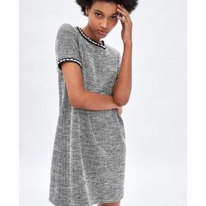 Textured weave dress with faux pearl details. NWT!